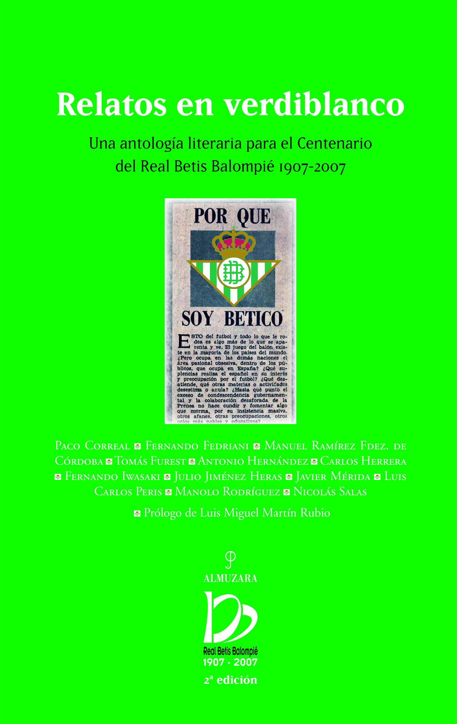 RELATOS EN VERDIBLANCO. UNA ANTOLOGÍA LITERARIA PARA EL CENTENARIO DEL